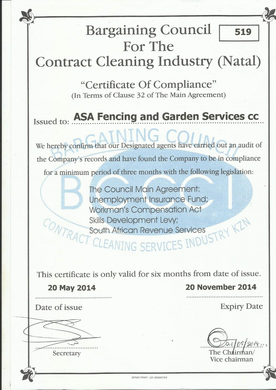 Bargaining Council Certificate Of Compliance